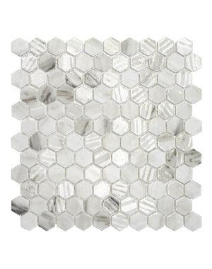 Luxury Tiles Hexagon Decor Marble Effect Glass Mosaic Tile
