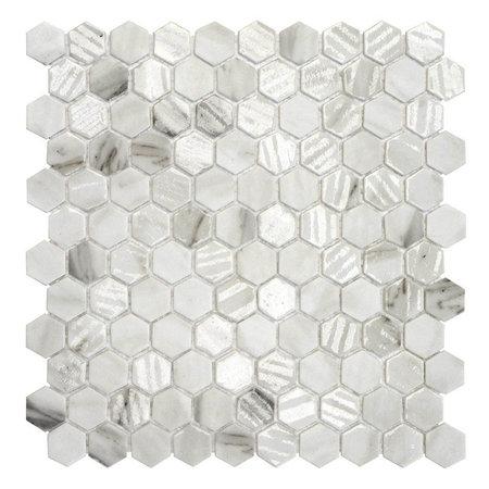 Luxury Tiles Hexagon Decor Marble Effect Matt Glass Mosaic Tile