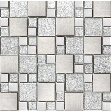 Luxury Tiles Fantasy Silver Square Mix Mosaic Tile