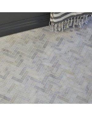 Luxury Tiles Carrara Marble Honed Chevron Mosaic 300x317mm Tile