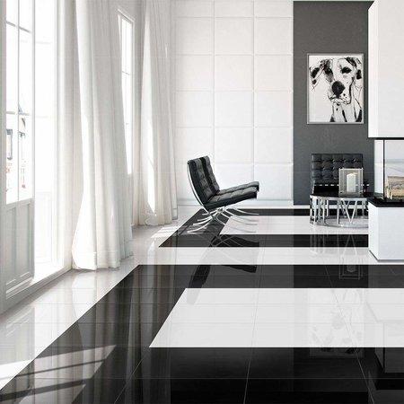 Luxury Tiles Mayfair Black Diamond Gloss 600x600mm Wall and Floor Tile