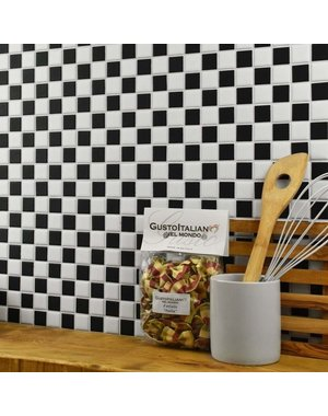 Luxury Tiles Classic Chequered Black and White Square Mosaic Tile