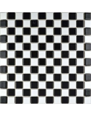 Luxury Tiles Chequered Black and White Mosaic Tile