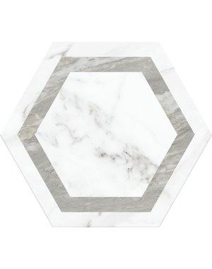 Chateau Décor White Hexagon Marble Tile