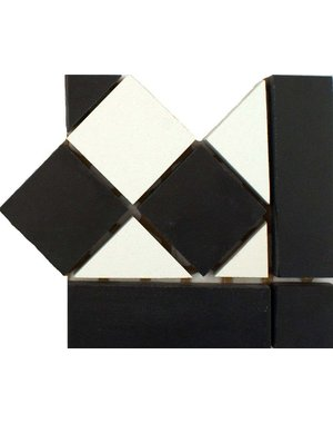 Luxury Tiles Classic Victorian Quarry Black And White Corner Border Tile