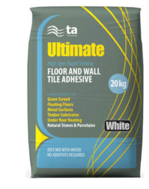 White Floor and Wall High Spec Rapid Setting Tile Adhesive 20kg