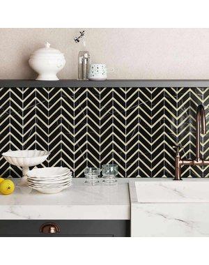Luxury Tiles Valentino Black Chevron Marble Tile