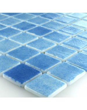 Luxury Tiles Mediterranean Swimming Pool Light Blue Mix Mosaic Glass Tile