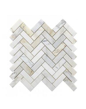 Luxury Tiles Maddalena Gold Herringbone Mosaic Tile