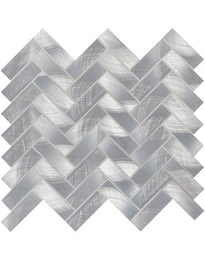 Luxury Tiles Brushed Steel Herringbone Mosaic