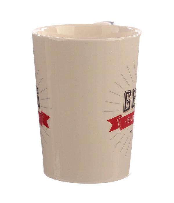 Puckator Ceramic Barber Mug with Shaving Foam Handle