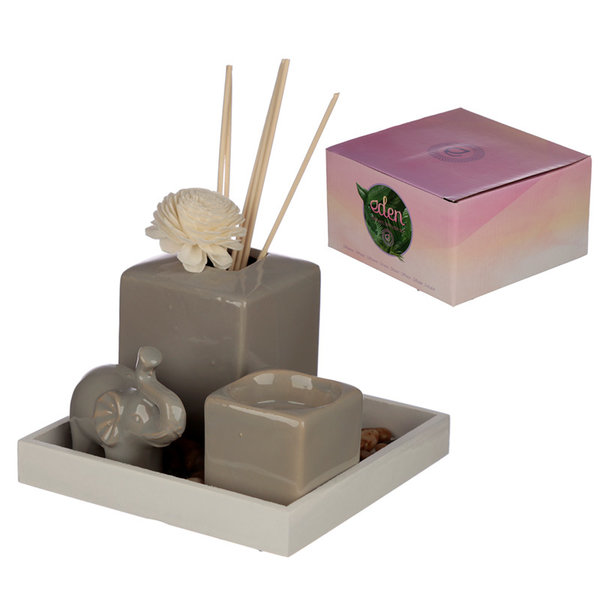 Eden Ceramic Gray Reed Diffuser & Candle Holder Elephant