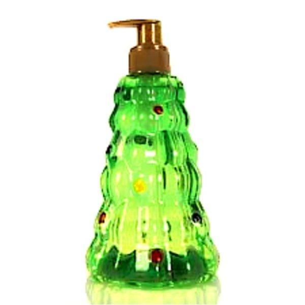 Vloeibare zeep in een dispenser in kerstboomvorm