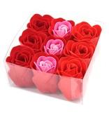 Set van 9 zeeproosjes Rode rozen