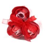 Bathroom Heaven Set of 3 Soap Flower Heart Box - Red Roses
