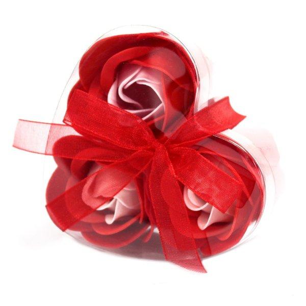 Set van 3 zeeproosjes  in doosje hartvorm -  Rode rozen
