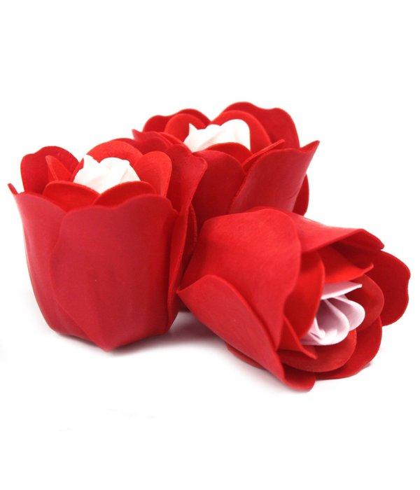 Set of 3 Soap Flower Heart Box - Red Roses