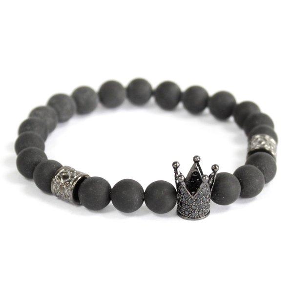 Kristallen kroon /  Zwarte Agaat - edelsteen armband