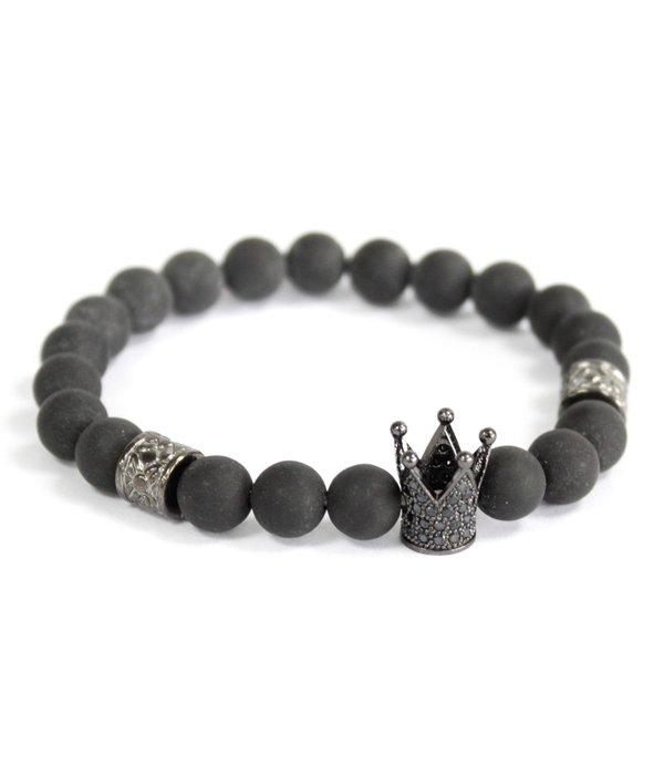AW Accessoiries Kristallen kroon /  Zwarte Agaat - edelsteen armband