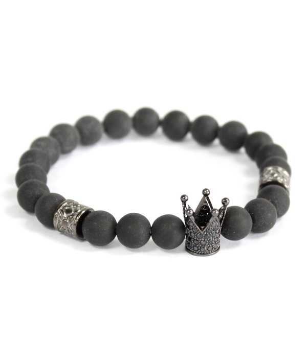 Crystal Crown / Black Agate - Gemstone Bracelet
