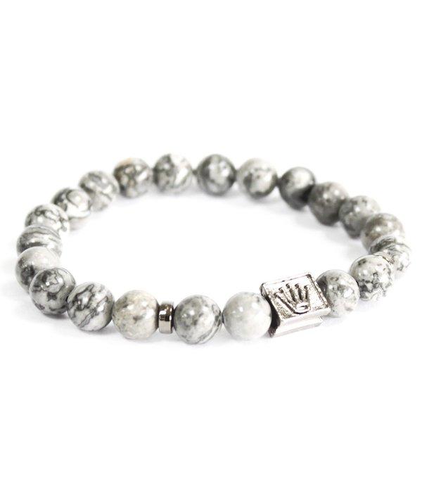 AW Accessoiries Crown Ingot / Grey Agate - Gemstone Bracelet