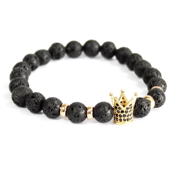Gouden kroon / lavasteen - edelsteen armband