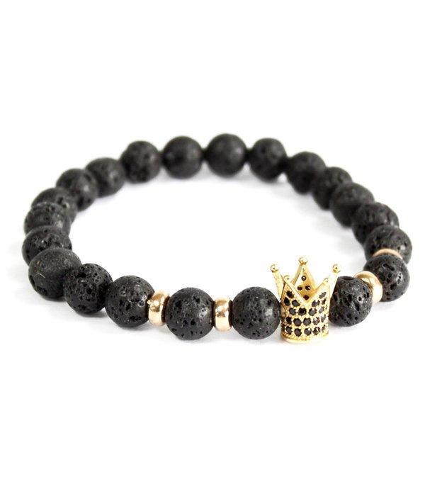 AW Accessoiries Gold Crown / Lava Stone - Gemstone Bracelet