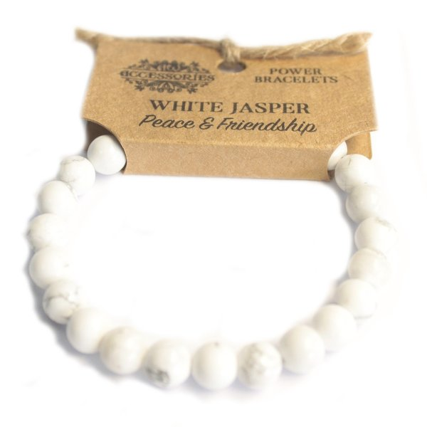 Power armband - Witte Jaspis