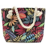 AW Bags Classic Rope Handled Bag - Red And Blue Flowers