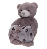 Labis Teddy bear with Baby / child gray blanket