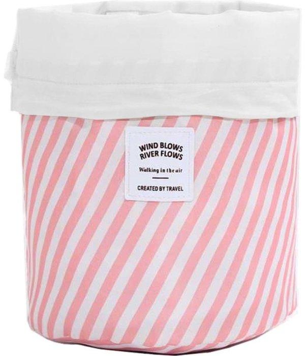 Toilettas Roze gestreept