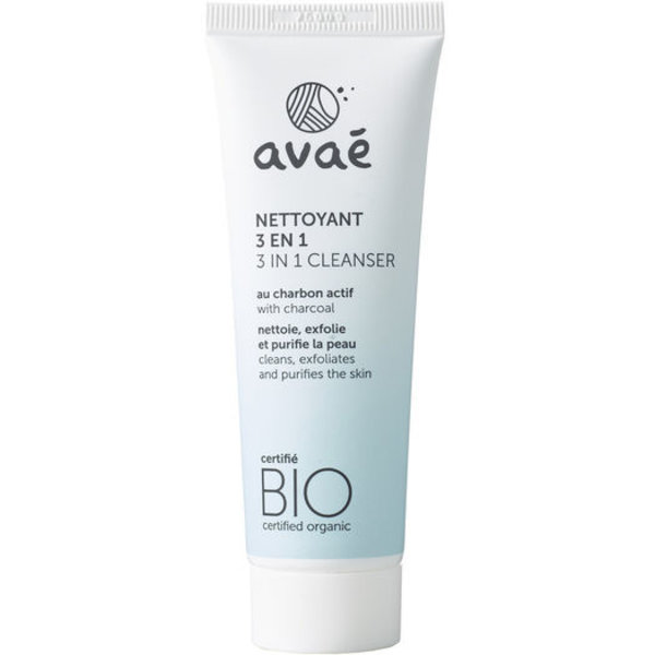 Avaé certified organic 3 in 1 Cleanser with activated carbon 50ml