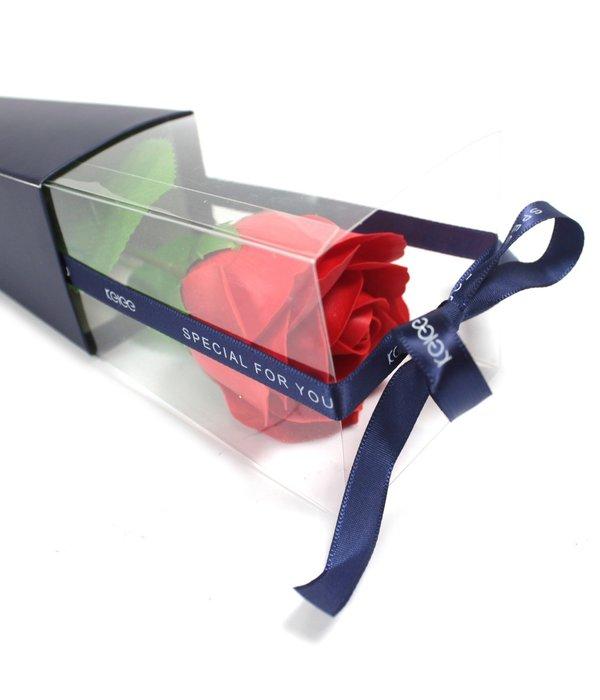 Zeep roos in verpakking Rood of Roze