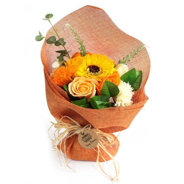 Standing Soap Flower Bouquet Orange