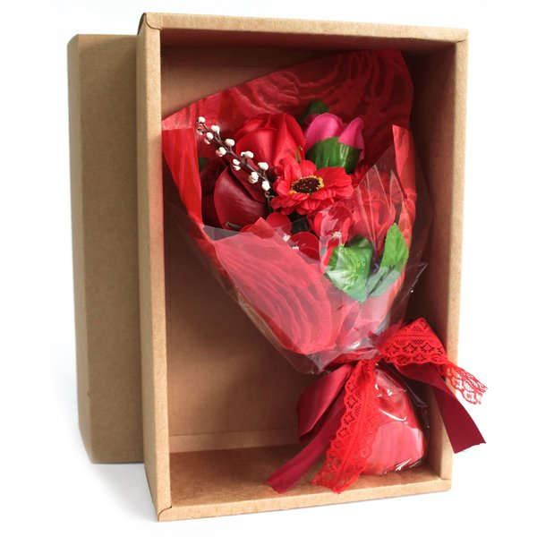Boxed Hand Soap Flower Bouquet - Red - Special