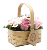 Bathroom Heaven Medium Pink soap Bouquet in Wicker Basket