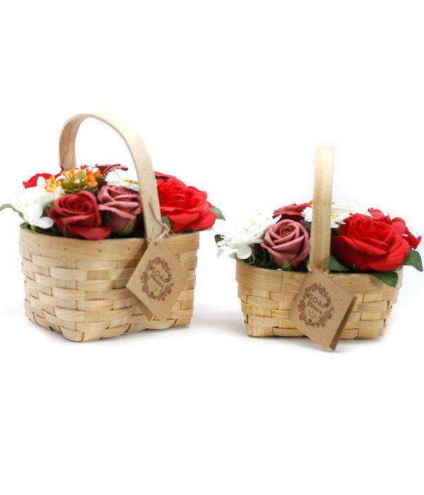 Bathroom Heaven Medium Red soap Bouquet in Wicker Basket