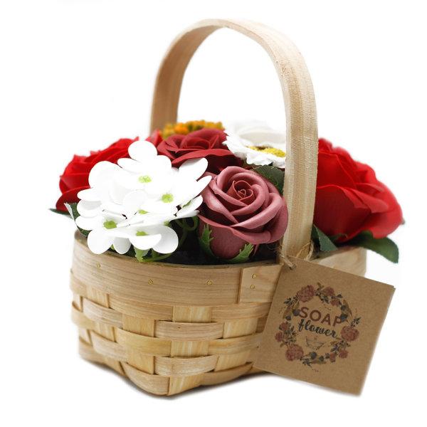 Red soap Bouquet in Wicker Basket