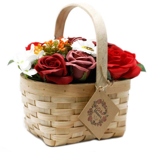 Large Red Bouquet in Wicker Basket