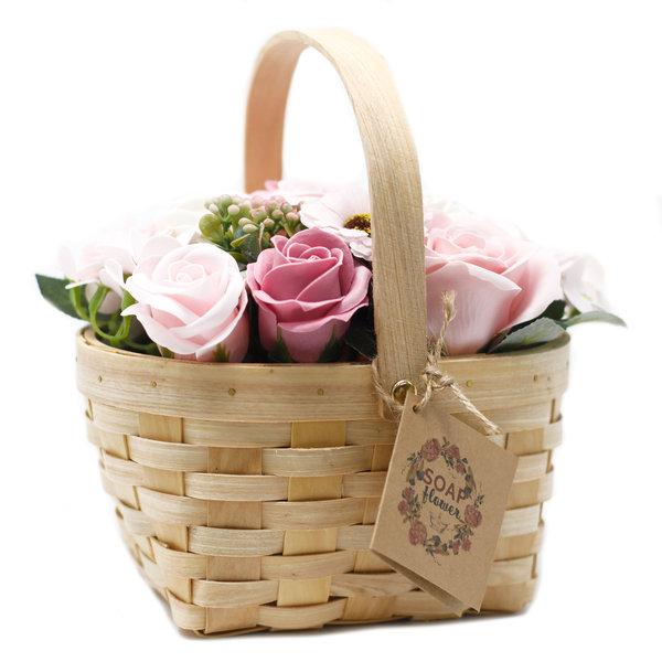 Large Pink soap Bouquet in Wicker Basket