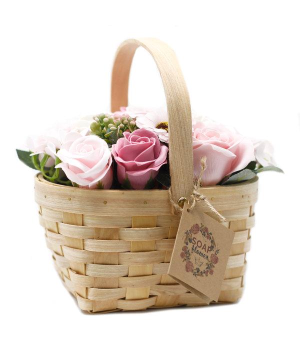 Bathroom Heaven Large Pink soap Bouquet in Wicker Basket