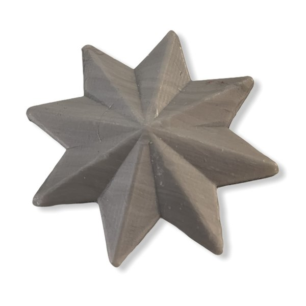 Soap in the shape of a star silver-metallic
