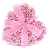 Set van 24 zeeproosjes  in doos hartvorm -  Roze rozen