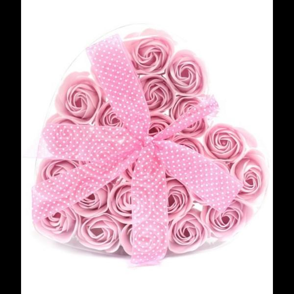 Soap Flower Heart Box Pink Roses