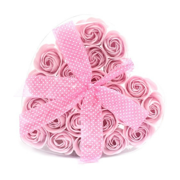 Zeeproosjes in doos hartvorm Roze rozen
