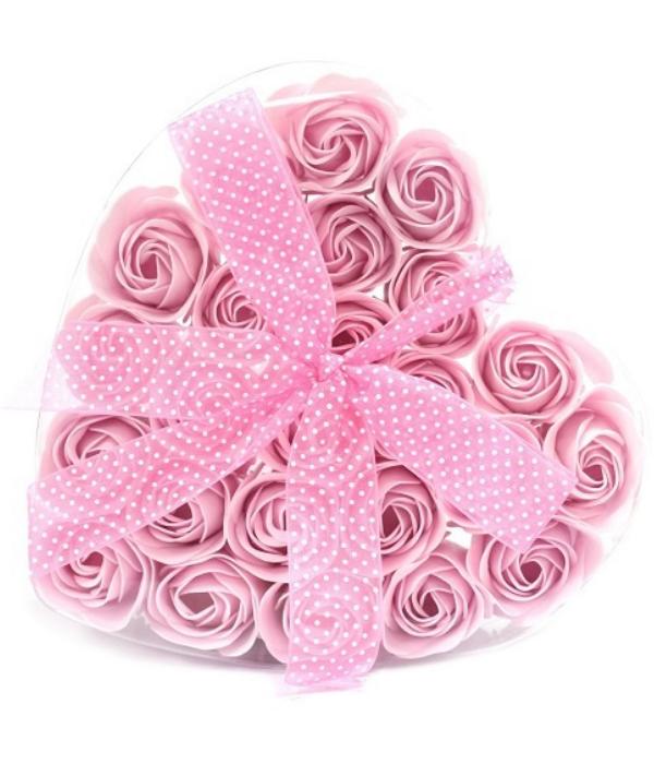 Bathroom Heaven Set van 24 zeeproosjes  in doos hartvorm -  Roze rozen