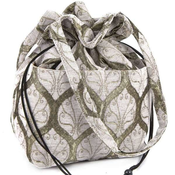 Peacock Patterned Cotton Bag Cream