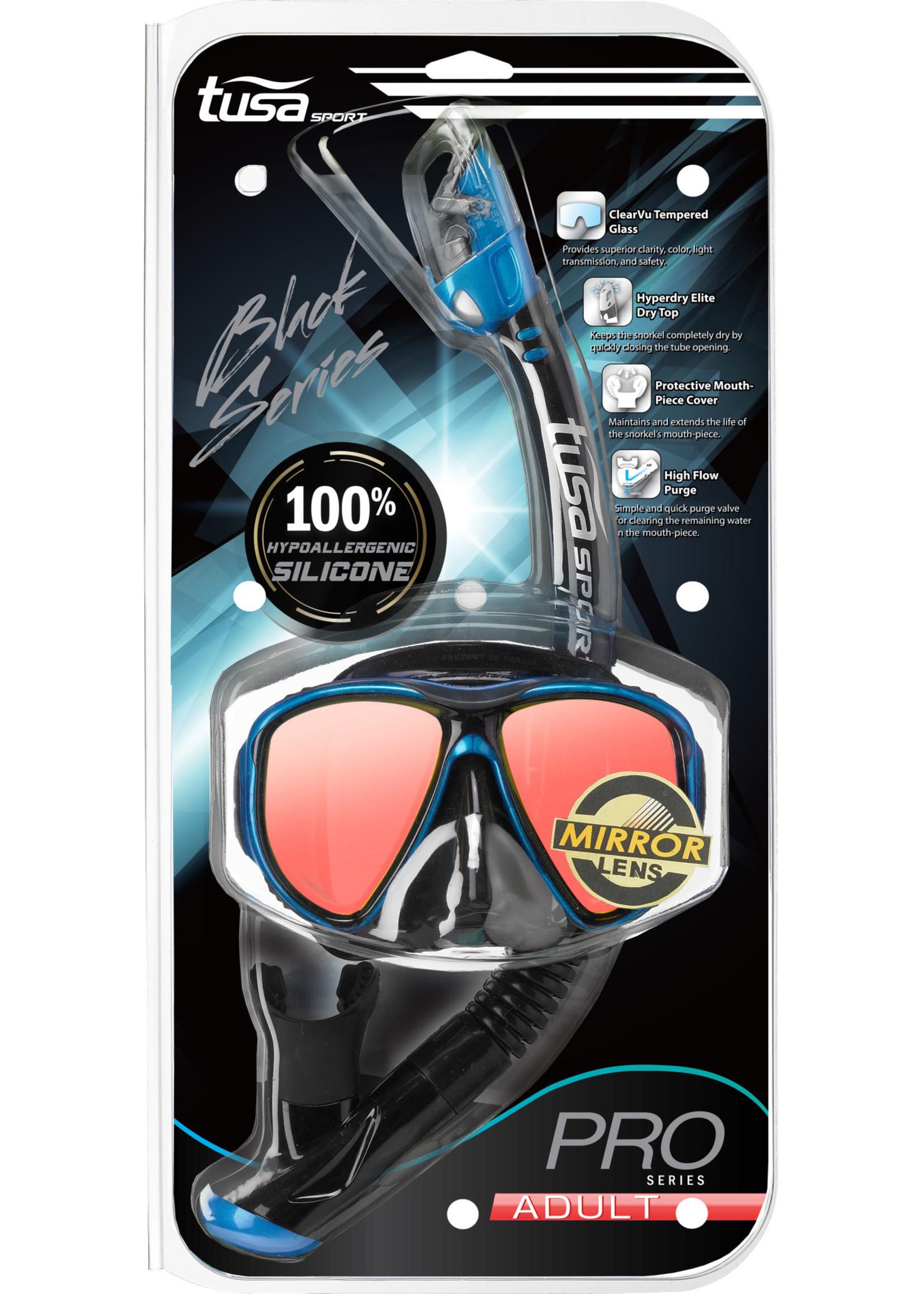 TUSA TUSA Powerview Adult Dry Combo (Mirror Lens) - Black/Fishtail Blue