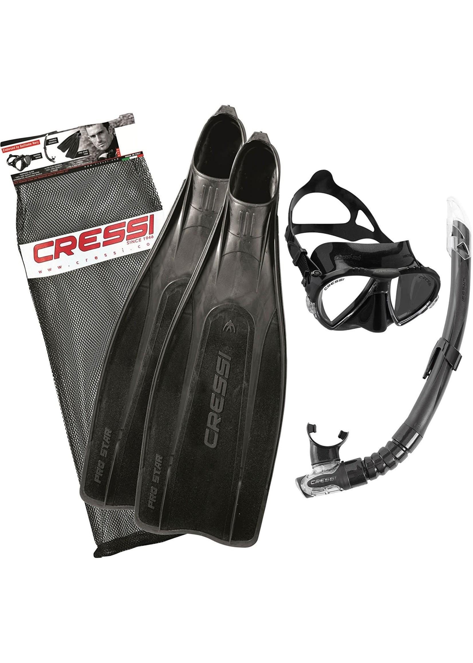 Cressi Cressi Snorkelset PRO STAR Bag - Zwart
