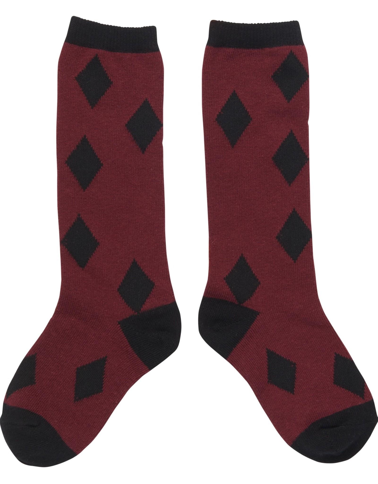 CarlijnQ Knee Socks Burgundy Diamonds